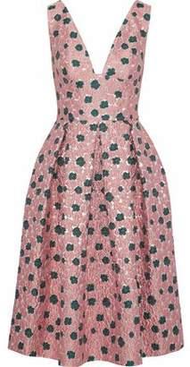 Lela Rose Pleated Brocade Dress