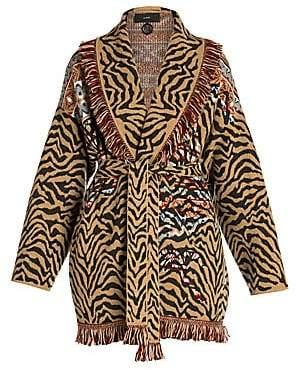 Alanui Women's Tiger-Stripe Fair Isle Cardigan