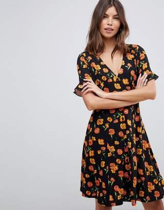 Asos Design DESIGN button through tea dress with frill sleeve in floral print
