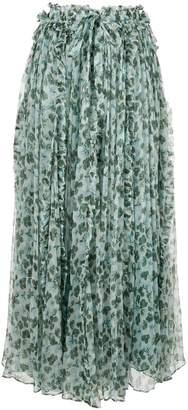 Lee Mathews floral pleated skirt