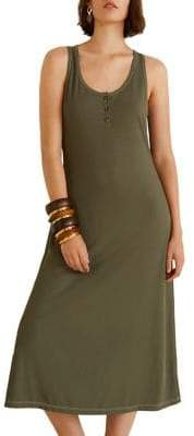MANGO Ribbed Jersey Henley Tank Dress