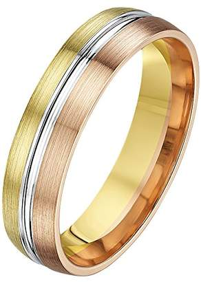 Theia His & Hers 14ct Yellow White and Rose Gold Three-Tone 5mm Grooved Wedding Ring - Size S