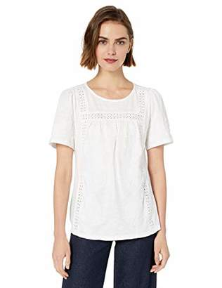 Lucky Brand Women's Embroidered Crochet Trim Peasant TOP