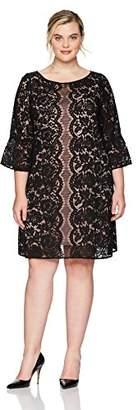 Julian Taylor Women's Plus Size Full Figured Bell Sleeve Lace Dress