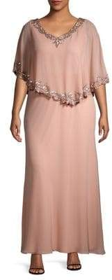 J Kara Plus Embellished Short Sleeve Capelet Gown