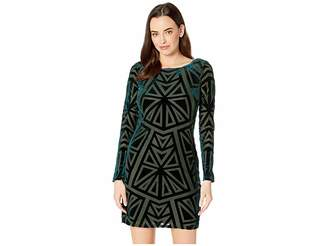 Vince Camuto Burnout Velvet Long Sleeve Tee Dress