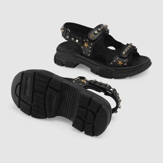 Gucci Leather and mesh sandal with studs
