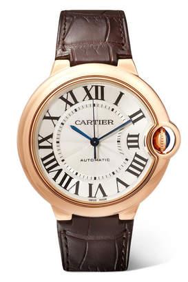 Cartier Ballon Bleu De 36mm 18-karat Pink Gold And Alligator Watch - Rose gold