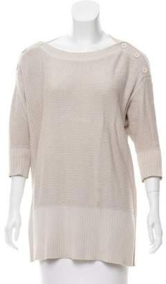 Alexander Wang Button-Accented Scoop Neck Sweater