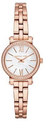 Michael Kors MK3834 Women's Petite Sofie Bracelet Strap Watch, Rose Gold/White