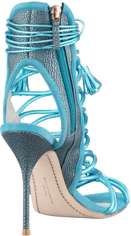 Webster Sophia Lacey Metallic Multi-Strap Tassel Sandal