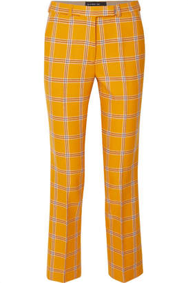 Etro Checked Wool Straight-leg Pants - Yellow
