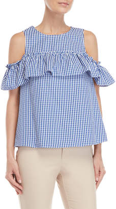 London Times Petite Gingham Cold Shoulder Tank