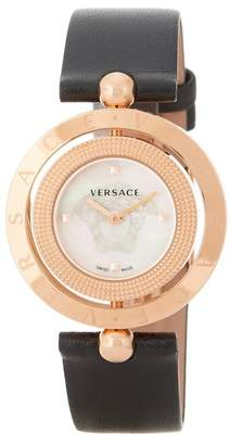 Versace Women's Eon Mother of Pearl Dial Leather Watch, 33.5mm