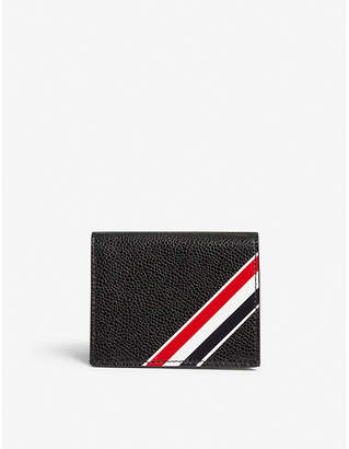 Thom Browne Striped pebbled leather card wallet
