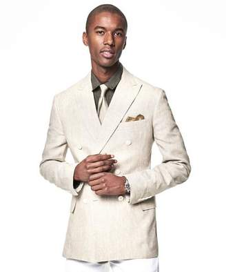 Todd Snyder Black Label Made In The USA Sutton Double Breasted Linen Unconstructed Sport Coat in Beige