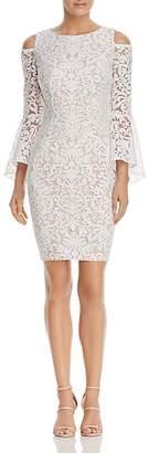 AQUA Cold-Shoulder Bell-Sleeve Lace Dress - 100% Exclusive $228 thestylecure.com