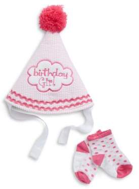Little Me Two-Piece Birthday Girl Hat And Socks Set