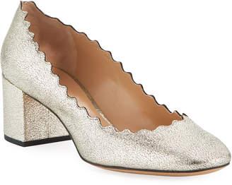 Chloé Lauren 50mm Scalloped Metallic Leather Block-Heel Pumps