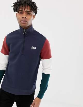 Jack and Jones Originals Sweatshirt With Retor Block Sleeve and 3/4 Zip Neck