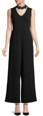 Kensie Crepe Lace Wide-Leg Jumpsuit