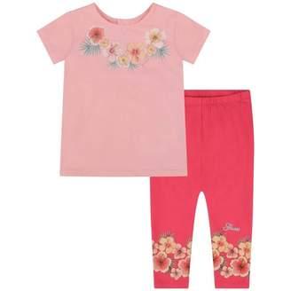 GUESS Girls Pink Floral Top & Leggings Set