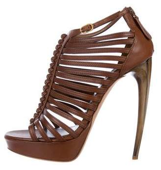 Alexander McQueen Leather Caged Sandals
