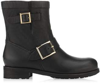 Jimmy Choo YOUTH - LINED Black Biker Leather Biker Boots with Rabbit Fur