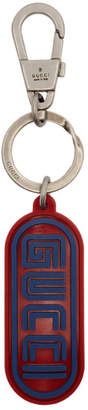 Gucci Red and Blue Rubber Logo Keychain