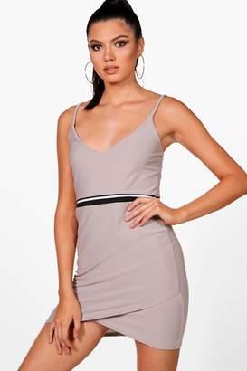 boohoo Strappy Wrap Dress With Sports Stripe Detail