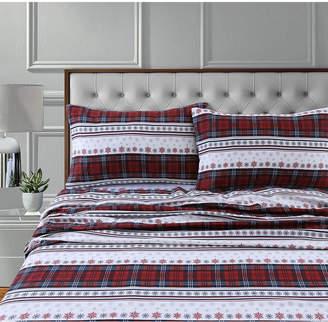 Marwah Corporation/tribeca Living Comfy Stripe 170-Gsm Cotton Flannel Printed Extra Deep Pocket Queen Sheet Set Bedding