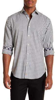 Thomas Dean Circular Plaid Print Long Sleeve Sport Fit Shirt