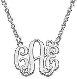 """QVC Laser & Etched Polished Monogram with 18"""" Chain"""
