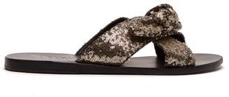 Ancient Greek Sandals Thais Sequin Embellished Leather Slides - Womens - Black Gold