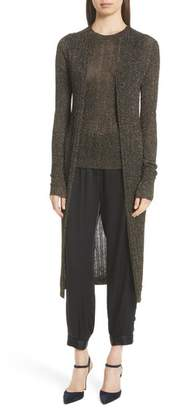 Nili Lotan LaSalle Metallic Knit Long Cardigan
