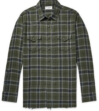 Saint Laurent Distressed Checked Cotton-Flannel Shirt - Dark green