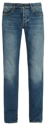 Saint Laurent Distressed Slim Leg Jeans - Mens - Blue