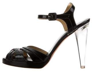 Valentino Patent Leather Ankle Strap Sandals