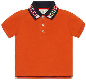 c87f9285d Gucci Short-Sleeve Polo w/ Knit Logo Collar, Size 12-36 Months