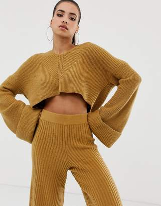 Missguided v neck cropped hooded jumper co-ord in camel