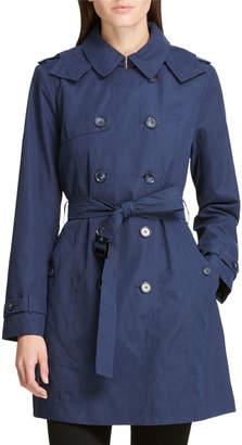 DKNY Microfiber Belted Trench Coat, Navy