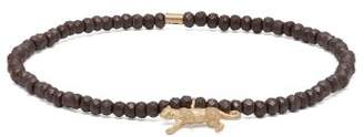 Luis Morais Panther Glass And Gold Charm Bracelet - Mens - Brown