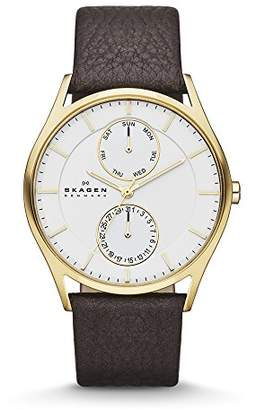 Skagen Men's Holst Quartz Stainless Steel and Leather Casual Watch
