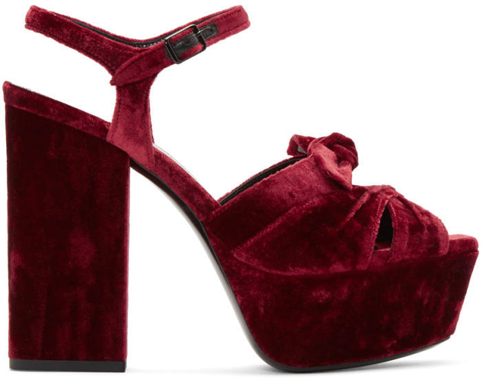 Saint Laurent Red Velvet Farrah Bow Sandals