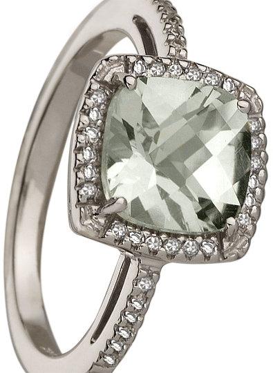 Brian Danielle Green Amethyst and Diamond Square Ring