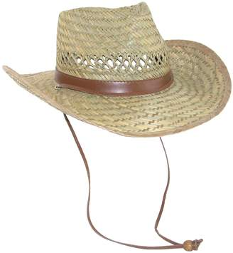 211bfe7e8fa Dorfman Pacific Men s Rush Straw Lightweight Outback Hat with Chin Cord