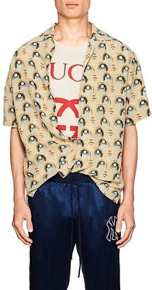 Gucci Men's Anime-Print Silk Bowling Shirt