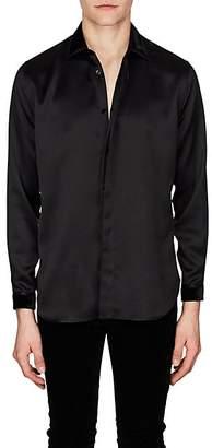 Saint Laurent Men's Velvet-Trimmed Silk Satin Shirt - Black