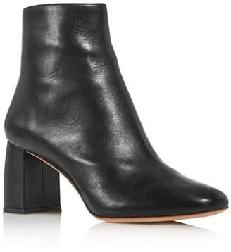 Loeffler Randall Women's Cooper Almond Toe Leather Block High-Heel Booties