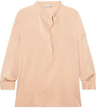 Vince - Stretch-silk Blouse - Beige $295 thestylecure.com